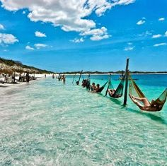 Jericoacoara beach in Ceara state, Brazil: can't wait to be in one of those hammocks!