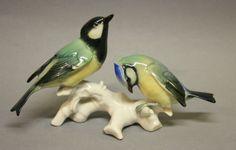 KARL ENS Meisen Meise Paar Vogel Tier Figur Porzellanfigur Grüne Mühlenmarke