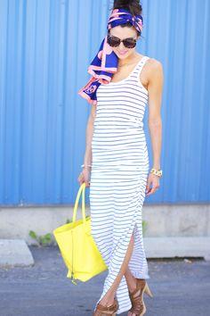Vestido longo + óculos oncinha +lenço colorido +bolsa amarela