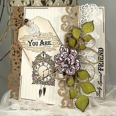 Anna marie designs Birthday Card Design, Birthday Cards, Diy And Crafts, Paper Crafts, Mixed Media Cards, Old Cards, Ways To Recycle, Pretty Cards, Simply Beautiful