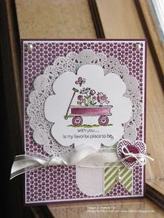 Stamps: For the Birds, Hearts a Flutter Inks: Rich Razzleberry, Pink Pirouette, Lucky Limeade, Black StazOn Papers: Whisper White, Rich Razzleberry, Sycamore Street SAB DSP Accessories: Big Shot, Hearts a Flutter Framelits, Floral Frames Framelits, White Doily, Whisper White Organza Ribbon, Sycamore Street SAB Rich Razzleberry Button, Whisper White Baker's Twine, Pearls, Dimensionals, Watercolor Brush