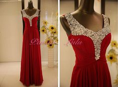 Handmade chiffon prom dressRed cheap evening by PandaLulu on Etsy, $129.00