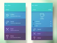 app visual design cards panes material interface. low volume cool color subtle shaded color and line icons.: