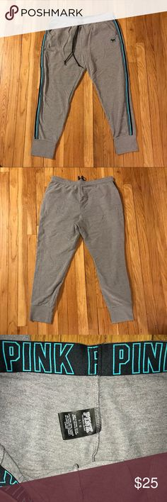 PINK Skinny Joggers Gray joggers wth black and blue detail on legs PINK Pants Track Pants & Joggers