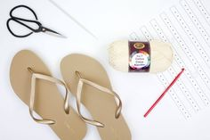 """How to crochet on flip flop soles. Free crochet boot pattern for adults using Lion Brand 24/7 Cotton in """"Ecru."""""""