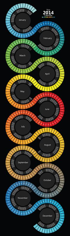 (2014 Swirl Calendar Infographic) I love this Idea of a calendar or the look for a Calendar! so creative