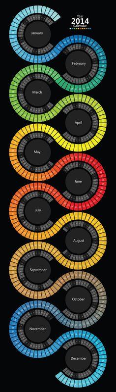 (2014 Swirl Calendar Infographic) I love this Idea of a calendar or the look for a Calendar! so creative