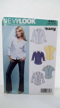 Misses' Career Shirts New Look Sewing Pattern 6407 Easy to