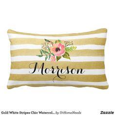 Gold White Stripes Chic Watercolor Flower Monogram Lumbar Pillow