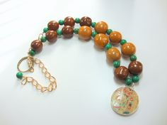 Women Jewelry Tan Brown Green Tagua Nut Beads by MommaGoddess, $32.00