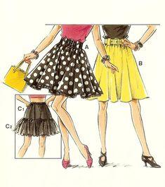 6b50f25f1a 90s Short Full Skirt and Crinoline Pattern Collection 21495 Multiple Sizes  Overálok, 90 Es Évek