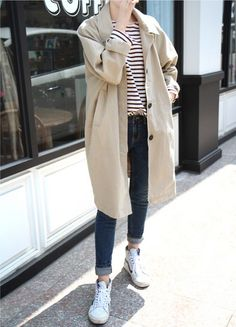 stripes and tan coat