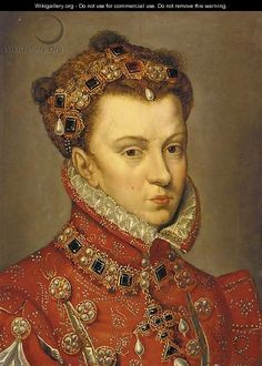 Portrait of Elizabeth of Valois, Queen of Spain - (after) Antonis Mor