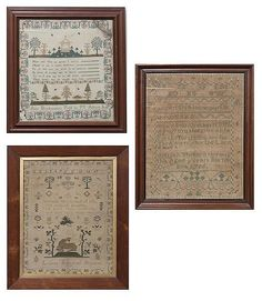 Lot 105: A Group of Three Samplers, Height of largest 15 1/2 x width 14 inches. - Leslie Hindman Auctioneers   AuctionZip