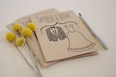 Wedding Program DEPOSIT - Printable, Custom - DIY Wedding - Rustic, KRAFT Paper, Foldable, Double-Sided, Simple, Drawn (Wedding Design #20)