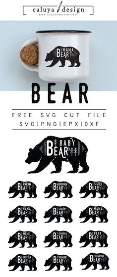 FREE bear cut file, Printable vector clip art download. Free printable clip art mom bear, dad bear. Compatible with Cameo Silhouette, Cricut explore and other major cutting machines. 100% for personal use, only $3 for commercial use. Perfect for DIY craft project with Cricut & Cameo Silhouette, card making, scrapbooking, making planner stickers, making vinyl decals, decorating t-shirts with HTV and more! Free SVG cut file, free bear SVG cut file. Mom, Dad, Baby, sister, brother, grandma…