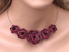 Burgundy Flower Leather Necklace Wine Roses by Leatherblossoms, $36.00