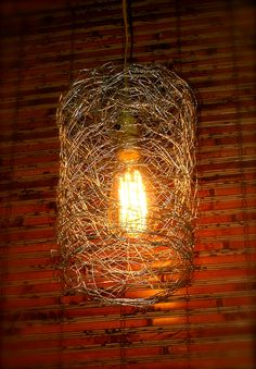 Fun hanging lamp made from re-purposed chicken wire