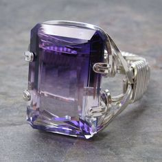 Bi-Colored Purple & Clear Ombre Ametrine Faceted Gemstone Sterling Silver Wire Wrapped Ring ANY size on Etsy, $50.00