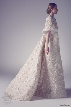ashi studio couture 2015 embroidery floor length jacket side view