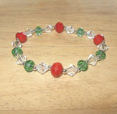 Green and Red Crystal Christmas Bracelet by BevmarDesigns on Etsy, $12.00