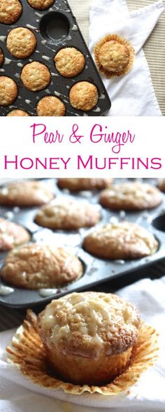 Pear muffins are made with ginger and topped with a honey glaze to add plenty of flavor. They are easy to make too—no mixer required!
