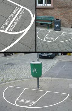 basketball court sticker placed around garbage cans to make throwing out litter a game twisted sifter.com