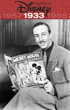 Walt Disney reading his Mickey Mouse Magazine Disney Magic, Disney Pixar, Disney Amor, Old Disney, Disney Love, Disney Mickey, Walt Disney World, Disney Couples, Disney Stuff