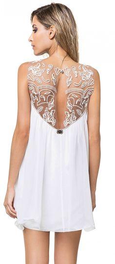 Vestido Branco Reveillon com tule e bordado