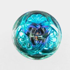 23mm Czech Glass Button with 3 Intertwining Circles - Light and Dark Blue | Hand-pressed Vintage Style Button with Glass Shank | Harlequin Beads and Jewelry:-: