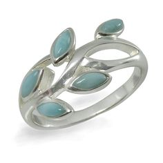 Larimar Ring. Sterling Silver Ring with 5 Oval Larimar Stones.Available in US Ring Sizes 5 - 12.
