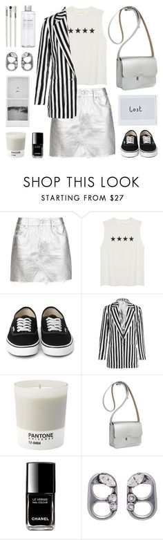 """""""Silver skirt"""" by deepwinter ❤ liked on Polyvore featuring Topshop, Topshop Unique, Pantone, Kate Sheridan, Chanel, Marc Jacobs, Cath Kidston and Muji"""