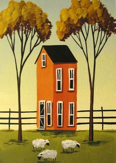 Original Painting Folk Art ACEO ATC Card Landscape Sheep Farm Autumn Animal | eBay