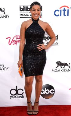 Jordin Sparks sports a dazzling Michael Costello LBD, which hugs her curves perfectly.