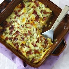 Green Chile, Bacon and Cheese Egg Bake on Recipe Girl Savory Breakfast, Breakfast Time, Breakfast Casserole, Breakfast Recipes, Queso Recipe, Overnight Blueberry French Toast, Recipe Girl, Egg Dish, Christmas Breakfast