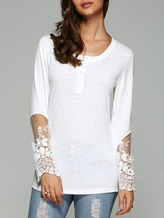 Dovetail Design Long Sleeve Tulle Spliced Blouse #jewelry, #women, #men, #hats, #watches, #belts