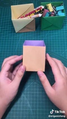 The art of origami. Purple box. ONEMIX Cool Paper Crafts, Paper Crafts Origami, Cardboard Crafts, Diy Crafts Hacks, Diy Crafts For Gifts, Instruções Origami, Easy Christmas Crafts, Origami Tutorial, Diy For Kids