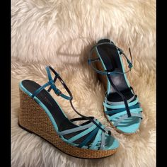 Beautiful wedges / sandals. Brand new. Brand new wedges. T-strap. patent leather. No box. 4 inch heel including platform. Christian Siriano for Payless Shoes Wedges