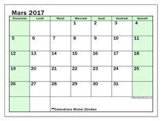 Gratuit ! Calendriers pour mars 2017 à imprimer