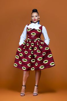 African Print Wilma Mid Length Dress| Grass-Fields| wear it formal or casual