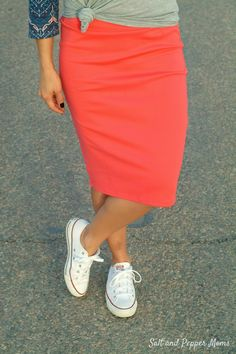 Converse with bold skirt. Love
