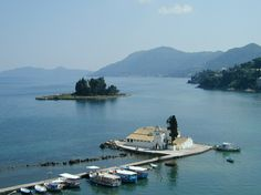 Panagia Vlacherna Church and Pontikonisi in Corfu island Greece