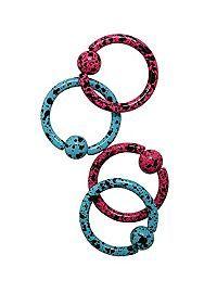 Steel Matte Pink And Turquoise Splatter Captive Hoop 4 Pack Septum Piercing Jewelry, Industrial Piercing Jewelry, Nose Jewelry, Body Piercings, Septum Ring, Jewlery, Ear Peircings, Cartilage Hoop, Matte Pink