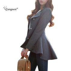 TANGNEST Zarif Kadın Bahar Blazers 2017 Moda Karışımlı Smokin Gri Siyah Ceket Iş Elbisesi Takım Rahat Ceket WWX329