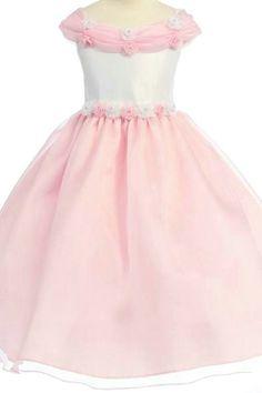 Organza Off Shoulder Ball Gown Unique Neckline Perfect Designer Flower Dress