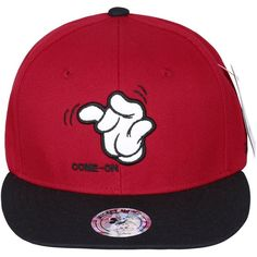 Disney Mickey Mouse's Hand Embroidery New Era Style Snapback Hat... ($18) ❤ liked on Polyvore featuring accessories, hats, snap back hats, embroidered hats, mickey mouse snapback, baseball snapback hats and disney hats