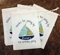 Sailboat Favor Bags - Kids Sailing Birthday / Toddler Boys Birthday / Kids Sailboat Theme / Custom Nautical Birthday / Favor 5x7 Muslin Bags by ScrapendipityBags