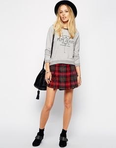 $99, Red Plaid Skater Skirt: Pepe Jeans Checked Mini Skirt. Sold by Asos. Click for more info: https://lookastic.com/women/shop_items/120753/redirect