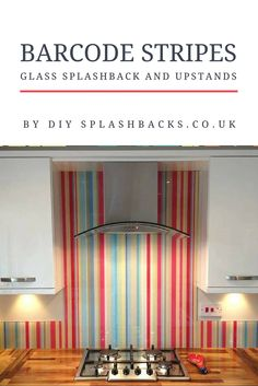 Barcode Stripe Glass Splashback and Upstands. Add colour to your kitchen with glass upstands. An affordable alternative to wood, or stone upstands- glass is easy to measure & fit, and at a fraction of the price of natural materials.  Discover more at out Inspiration Blog