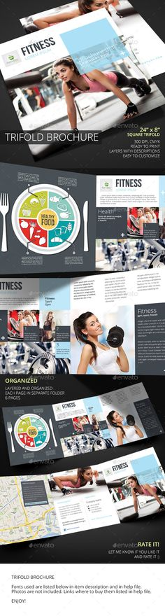 Fitness Square Trifold Brochure Template #design Download: http://graphicriver.net/item/fitness-square-trifold-brochure/11809352?ref=ksioks